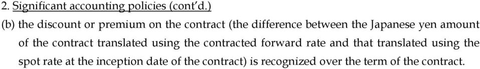 the inception date of the contract) is recognized over the term of the contract. 2.