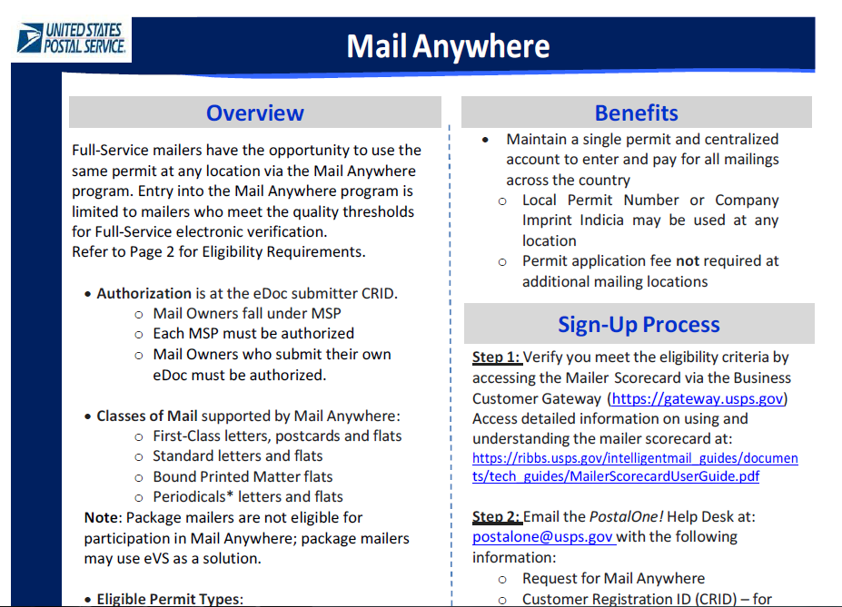 Mail Anywhere Fact Sheet For more information, visit https://ribbs.usps.