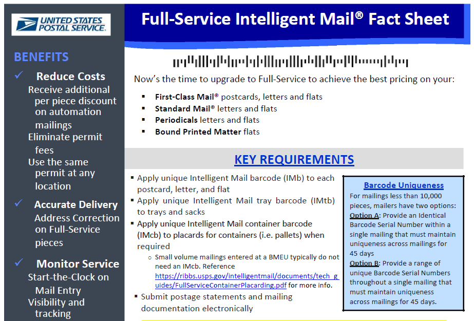 Full-Service Intelligent Mail Fact Sheet For more information, visit https://ribbs.