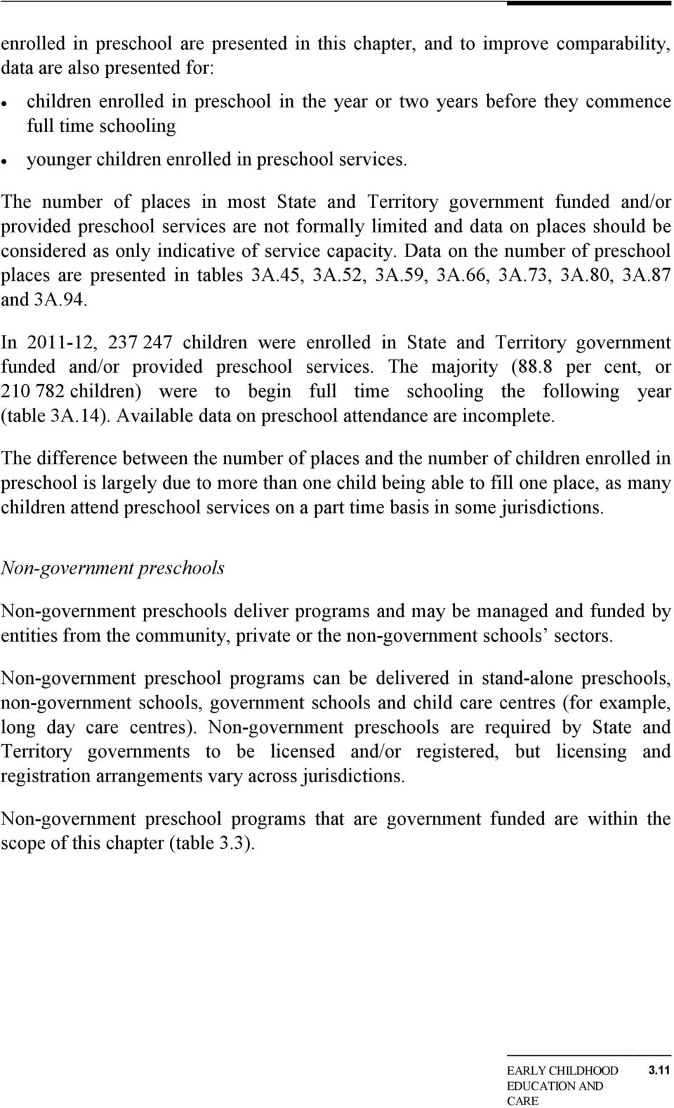The number of places in most State and Territory government funded and/or provided preschool services are not formally limited and data on places should be considered as only indicative of service