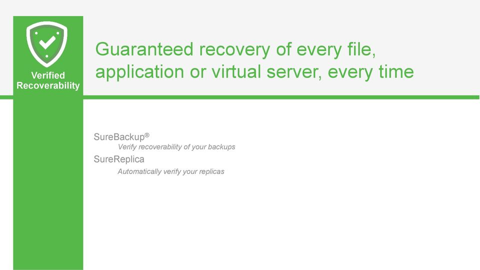 time SureBackup Verify recoverability of your