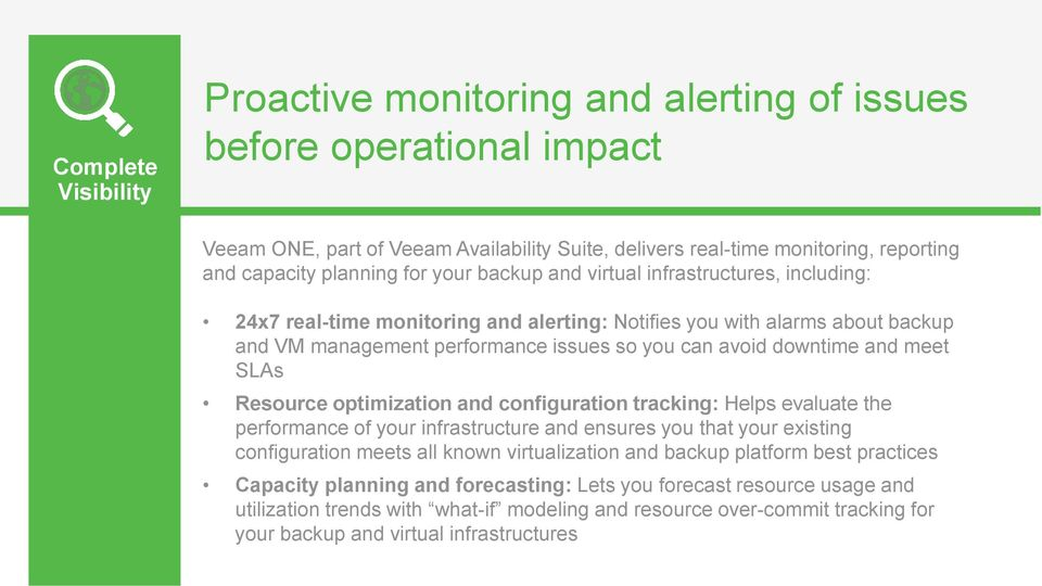 and meet SLAs Resource optimization and configuration tracking: Helps evaluate the performance of your infrastructure and ensures you that your existing configuration meets all known virtualization