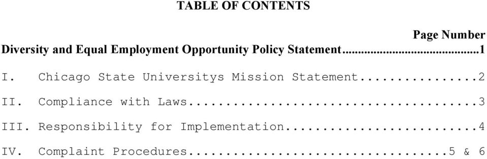 Chicago State Universitys Mission Statement...2 II.