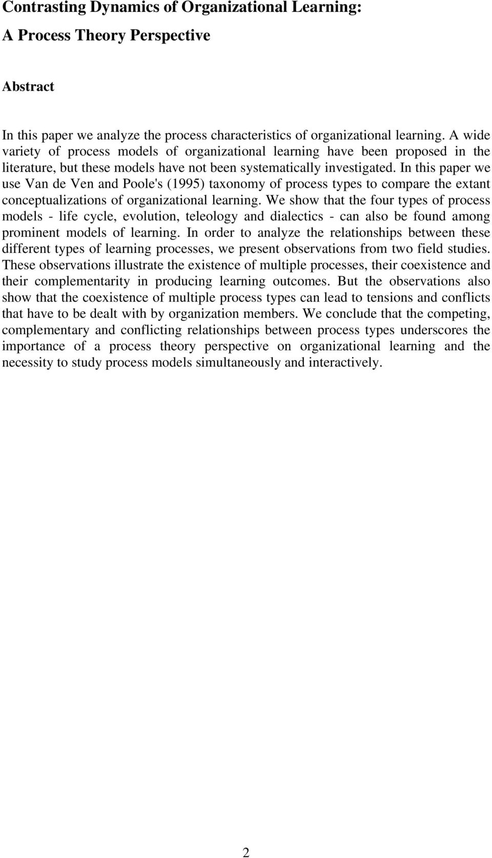 organizational learning a theory of action perspective pdf