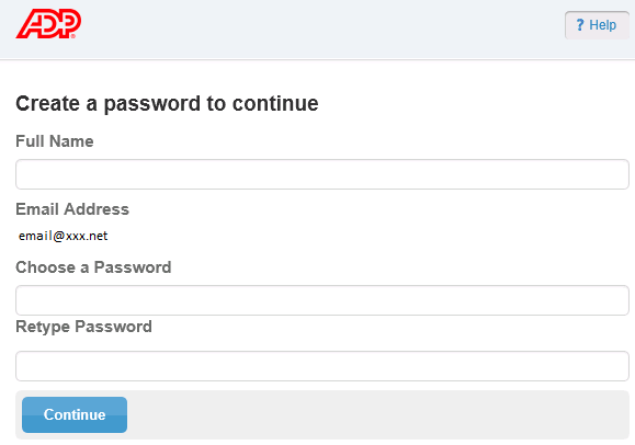 Choose a Password Figure 3: ADP Secure Email Account Creation Screen 1. Enter your name.