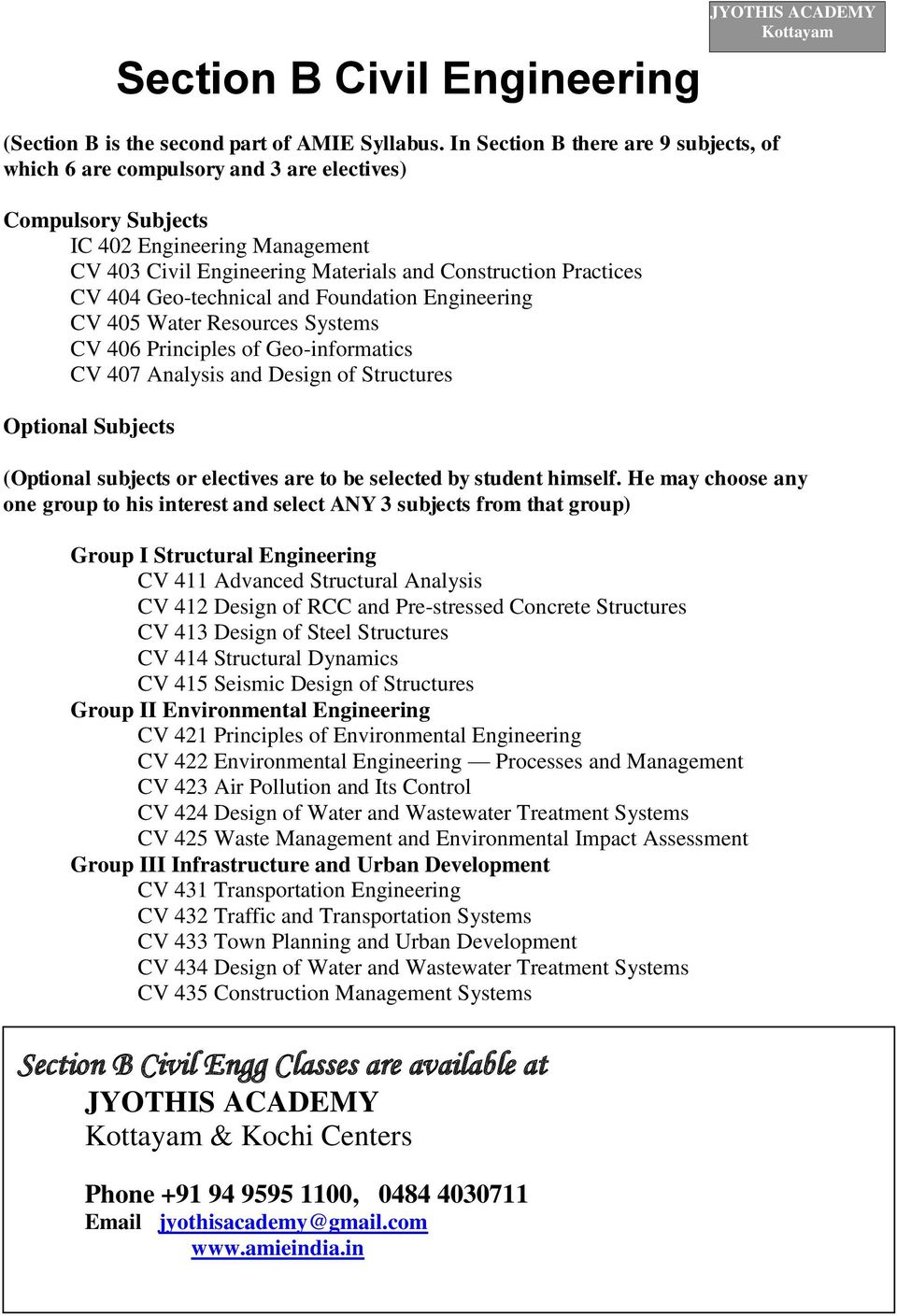 Systems Engineering b com it subjects