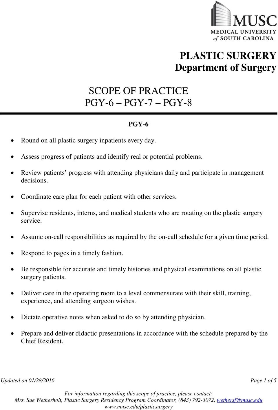 Supervise residents, interns, and medical students who are rotating on the plastic surgery service. Assume on-call responsibilities as required by the on-call schedule for a given time period.