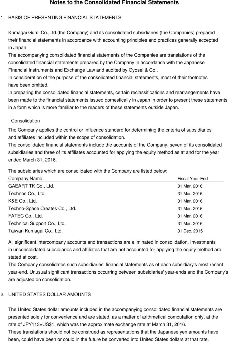 The accompanying consolidated financial statements of the Companies are translations of the consolidated financial statements prepared by the Company in accordance with the Japanese Financial