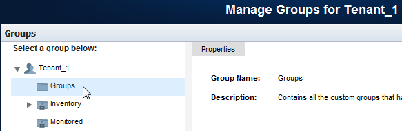 Administer a Tenant Set Up Tenant Groups The groups that you create while administering a tenant are specific to that tenant. Custom groups are not shared among tenants.