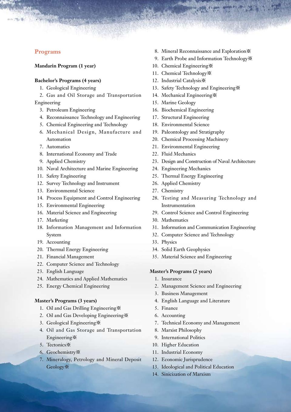 Survey Technology and Instrument 13. Environmental Science 14. Process Equipment and Control 15. Environmental 16. Material Science and 17. Marketing 18.