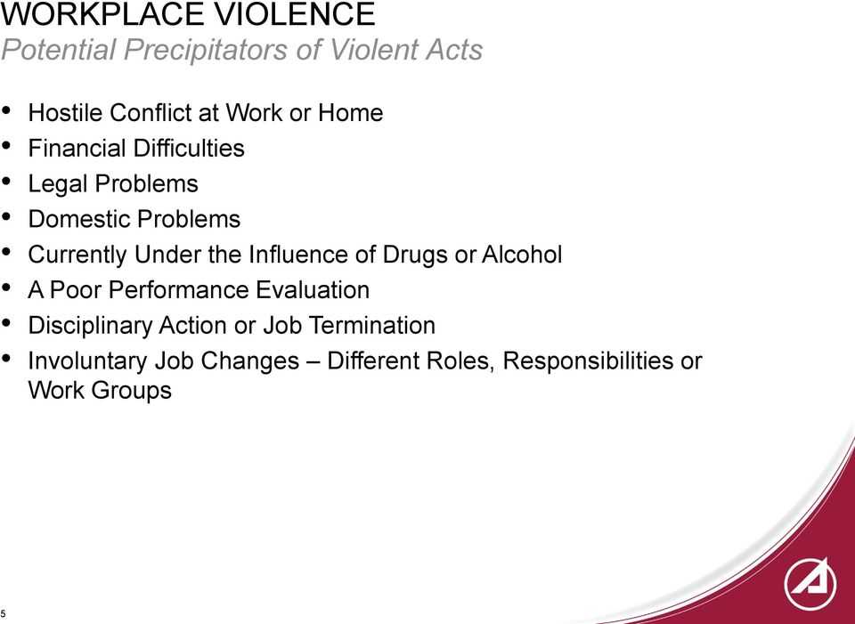 Influence of Drugs or Alcohol A Poor Performance Evaluation Disciplinary Action or