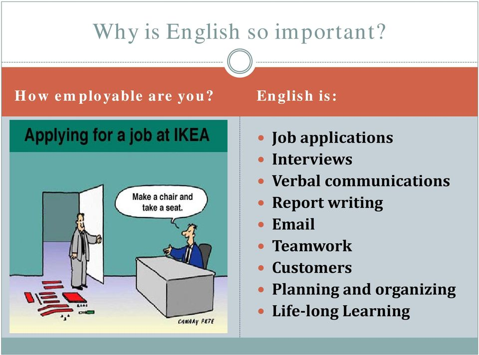 English is: Job applications Interviews Verbal