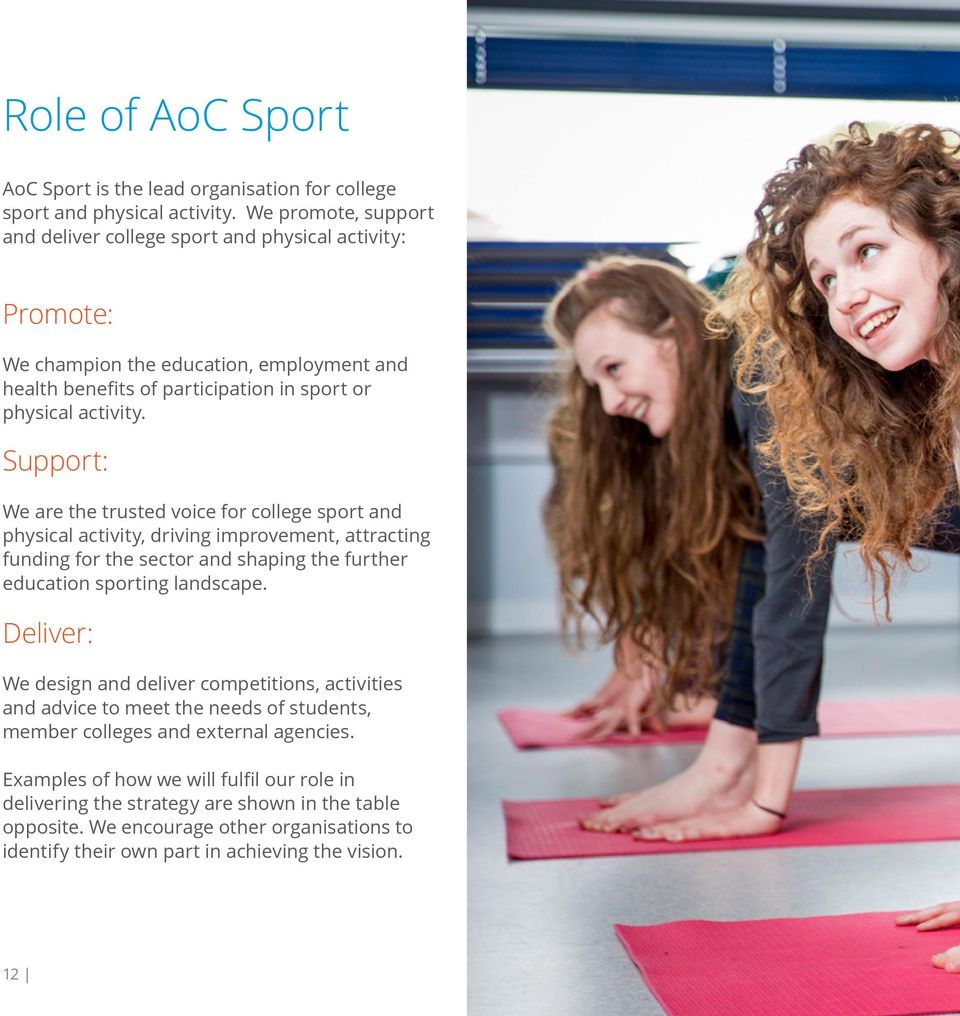 Support: We are the trusted voice for college sport and physical activity, driving improvement, attracting funding for the sector and shaping the further education sporting landscape.