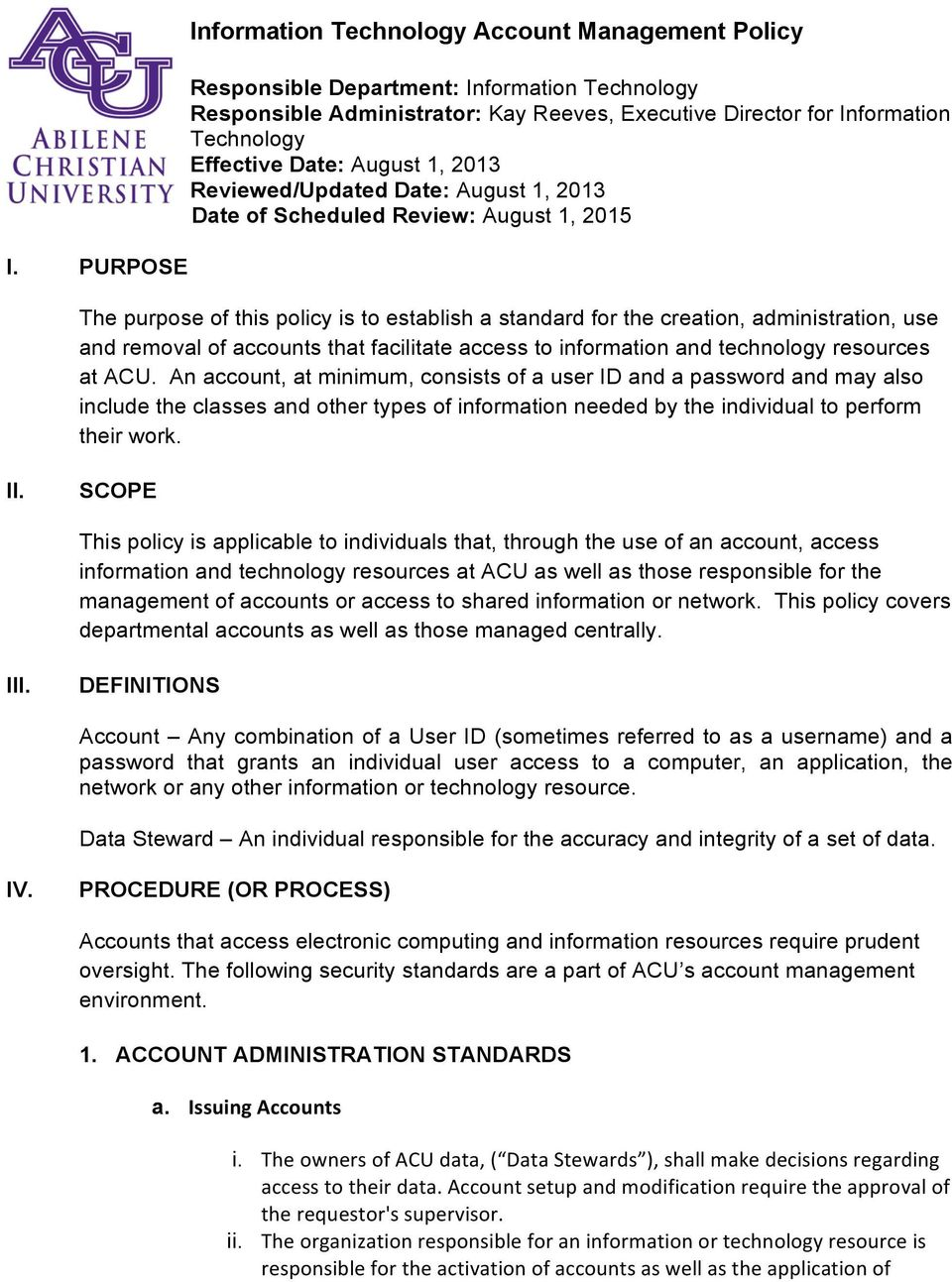 Information Technology Management: Information Technology Account Management Policy