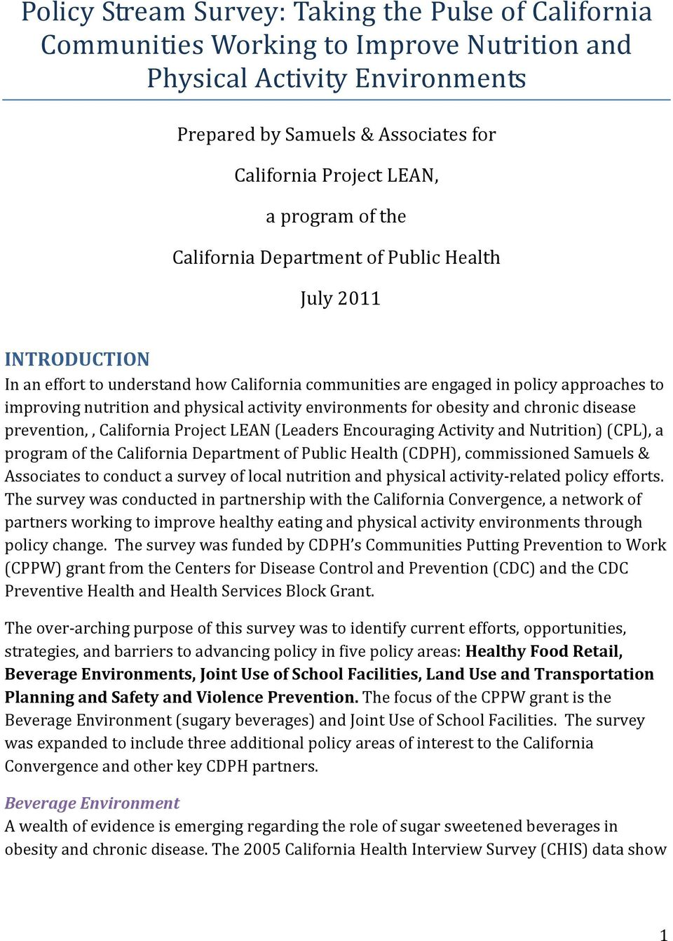 activity environments for obesity and chronic disease prevention,, California Project LEAN (Leaders Encouraging Activity and Nutrition) (CPL), a program of the California Department of Public Health