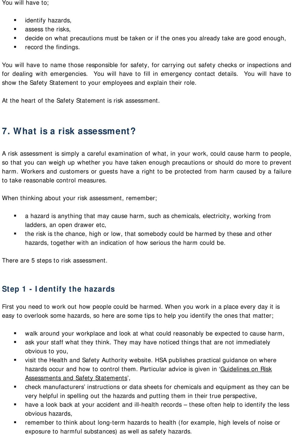 Safety Statement and Risk Assessment