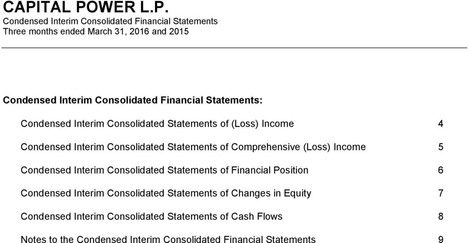 Comprehensive (Loss) Income 5 Condensed Interim Consolidated Statements of Financial Position 6 Condensed Interim Consolidated