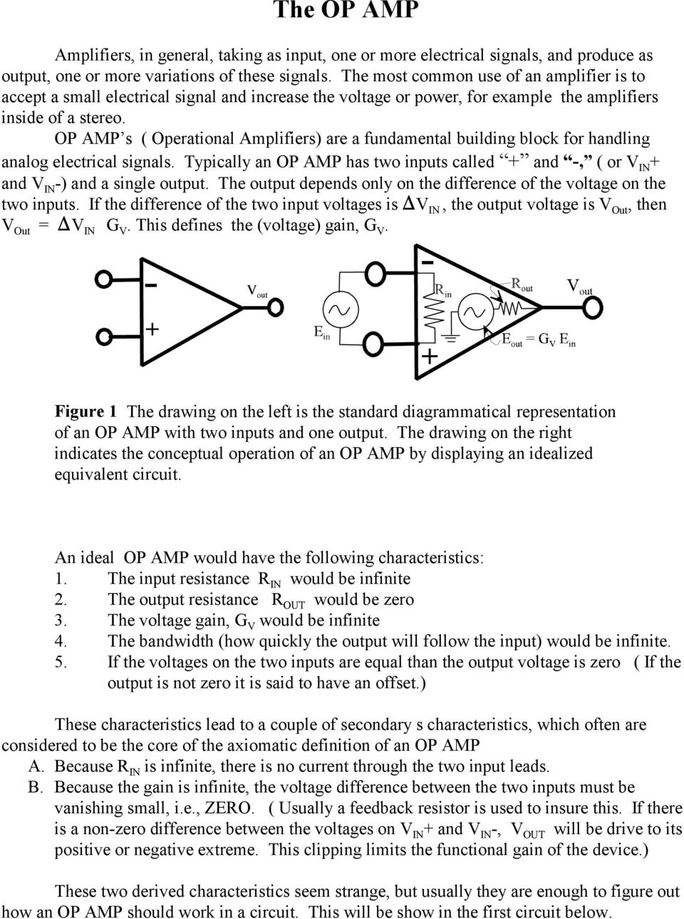The Op Amp Figure 1 Pdf Introduction To 741 Operational Amplifier Tutorial Electronic S Amplifiers Are A Fundamental Building Block For Handling Analog Electrical