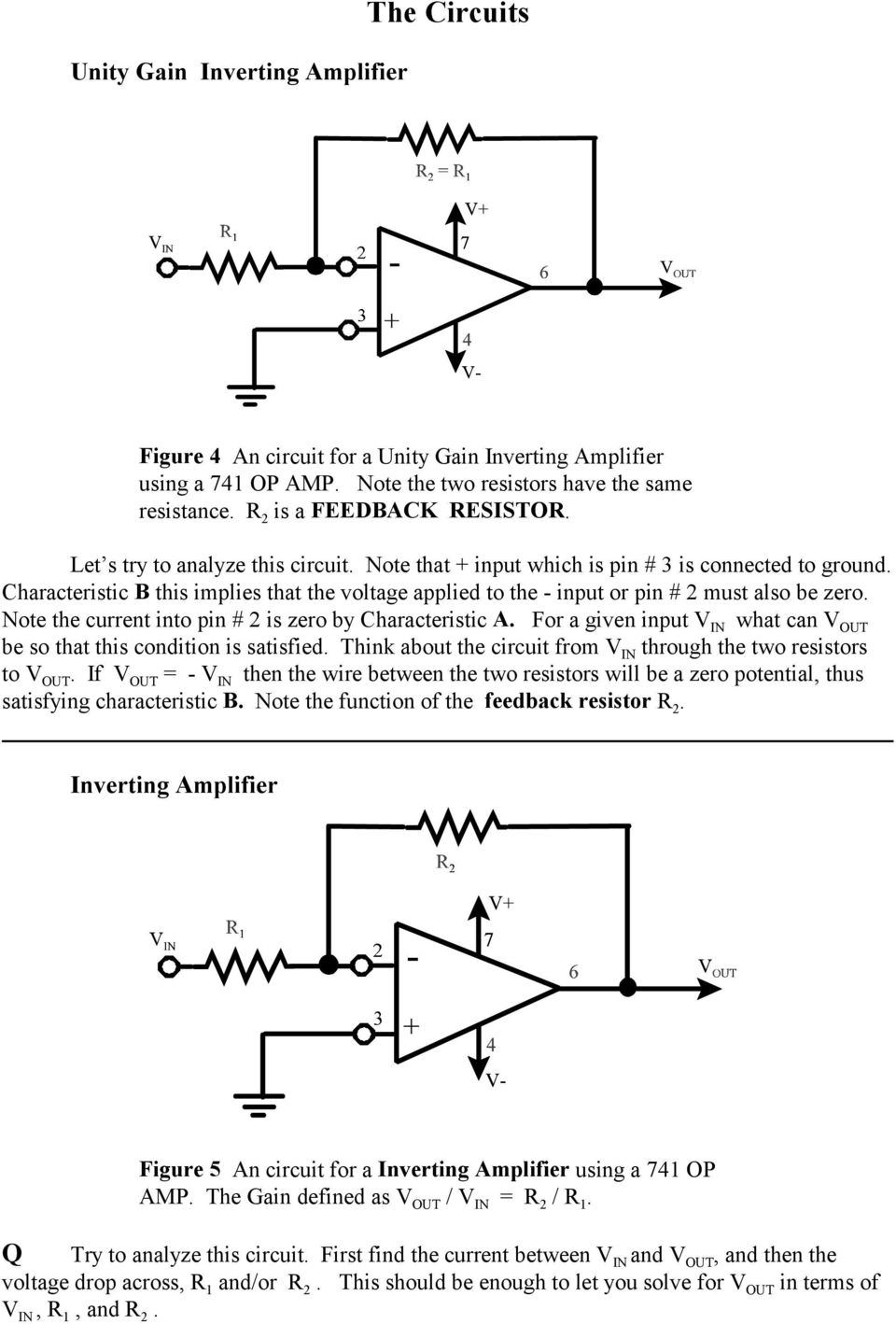 The Op Amp Figure 1 Pdf Practical Inverting Amplifier Using 741 Note Current Into Pin 2 Is Zero By Characteristic A For Given