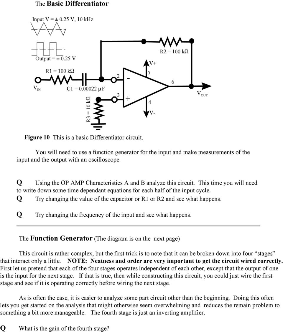 The Op Amp Figure 1 Pdf Completely Analyze This Circuit Where Time You Will Need To Write Down Some Dependant Equations For Each Half Of