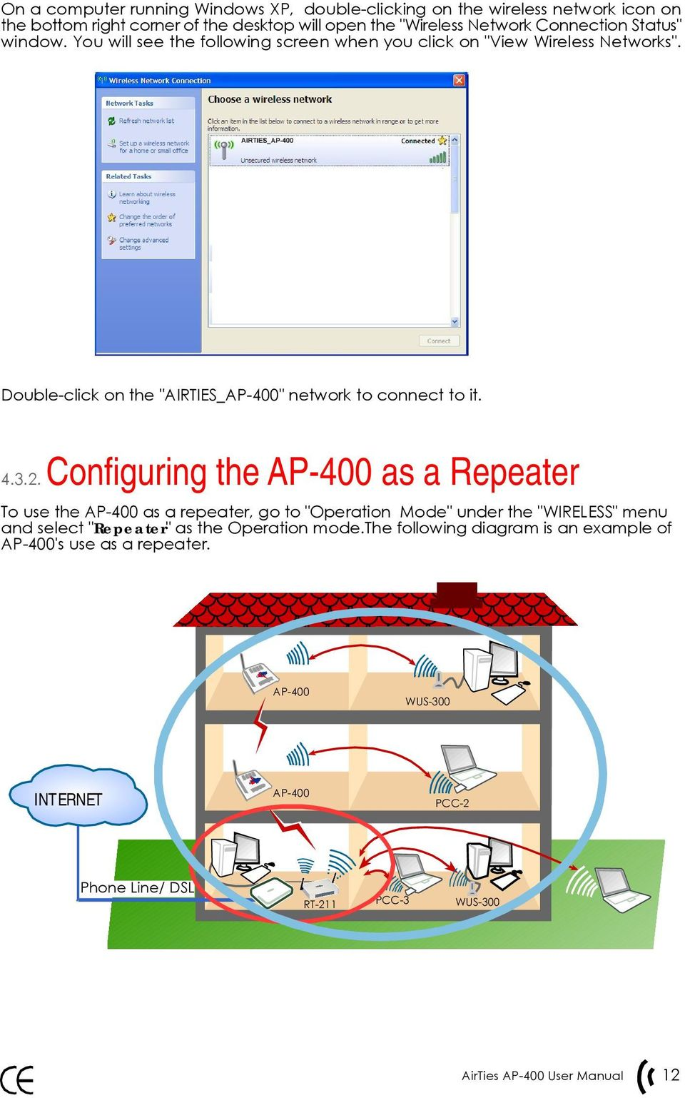 "Double-click on the ""AIRTIES_AP-400"" network to connect to it. 4.3.2."