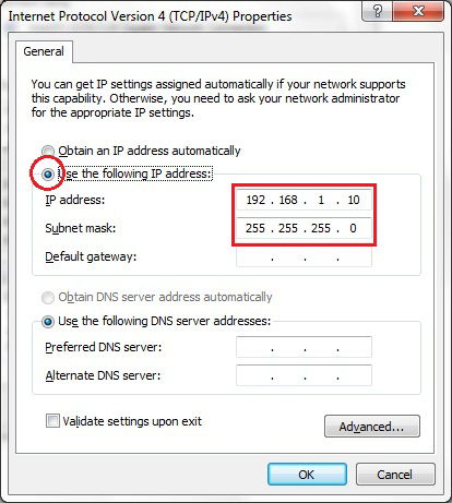 5 Select Use the following IP address and enter an IP address that is different from the AT-MWS AP and Subnet mask, then click OK.