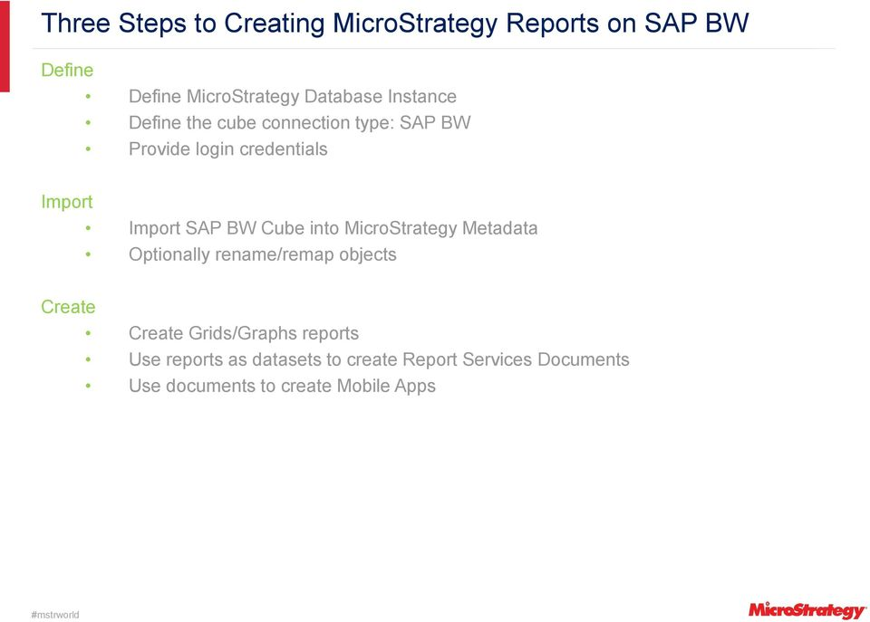Cube into MicroStrategy Metadata Optionally rename/remap objects Create Create Grids/Graphs