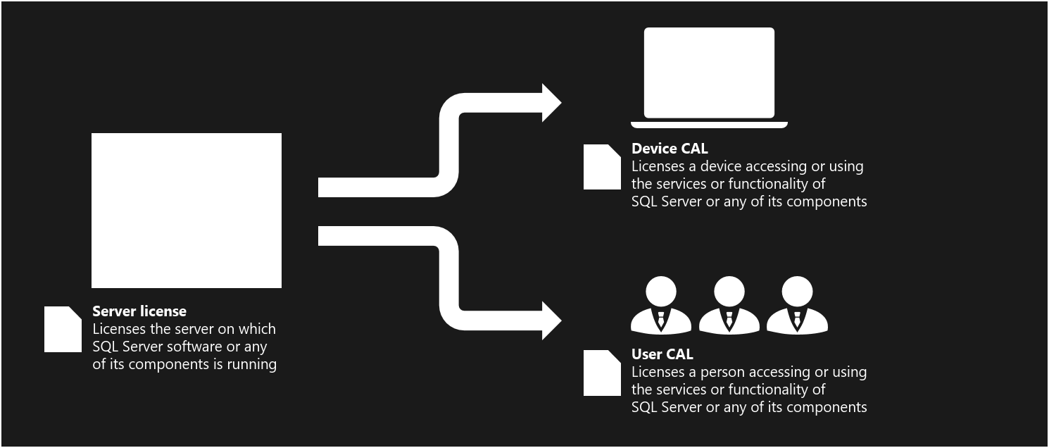 This figure illustrates the licenses used in the Server+CAL licensing model.