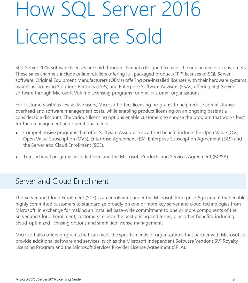 hardware systems, as well as Licensing Solutions Partners (LSPs) and Enterprise Software Advisors (ESAs) offering SQL Server software through Microsoft Volume Licensing programs for end-customer