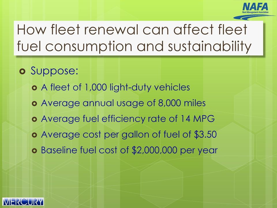 annual usage of 8,000 miles Average fuel efficiency rate of 14 MPG
