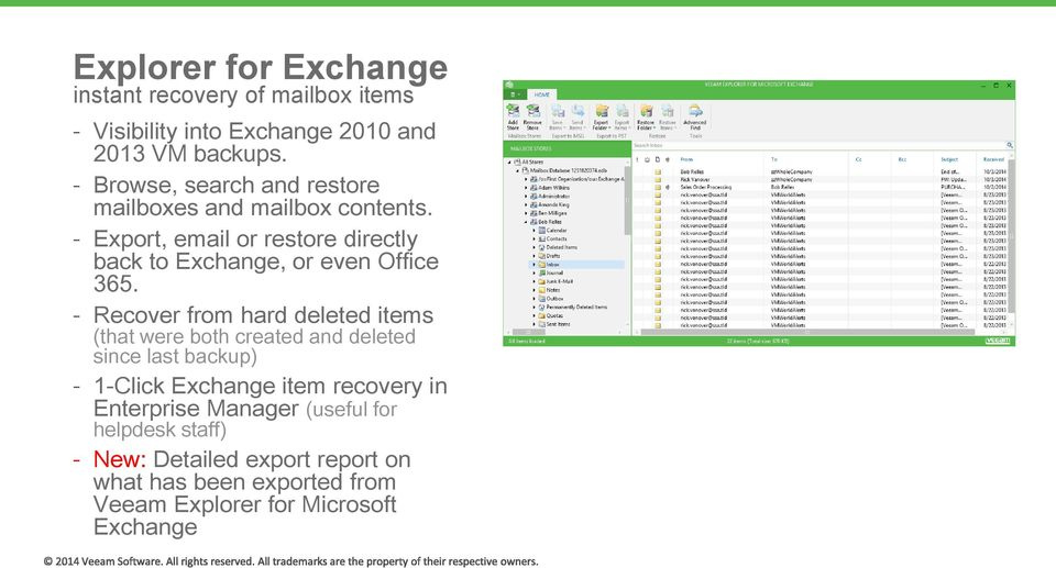 Export, email or restore directly back to Exchange, or even Office 365.