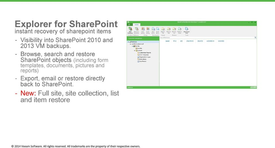 Browse, search and restore SharePoint objects (including form templates,