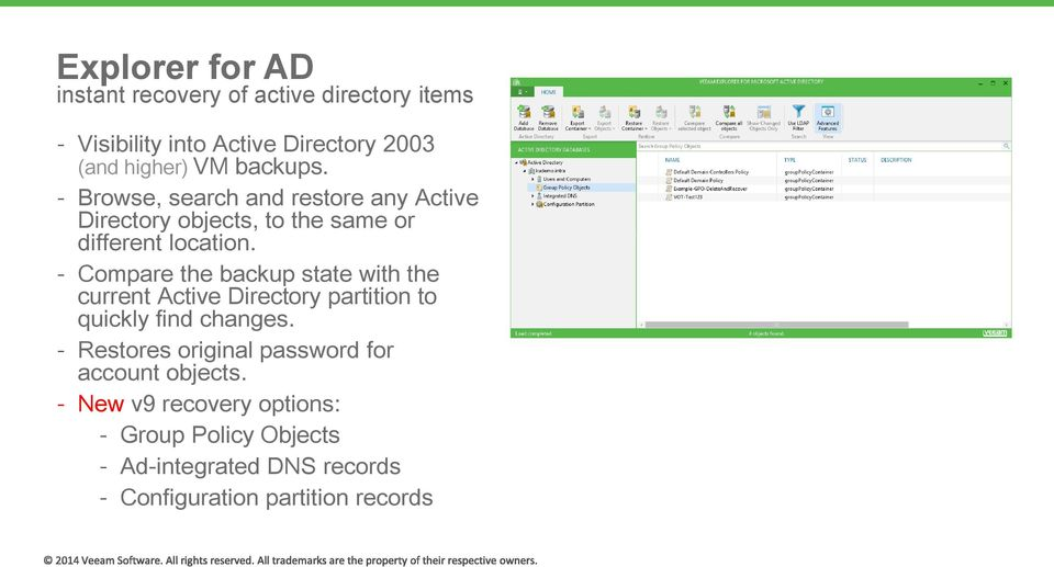 Compare the backup state with the current Active Directory partition to quickly find changes.