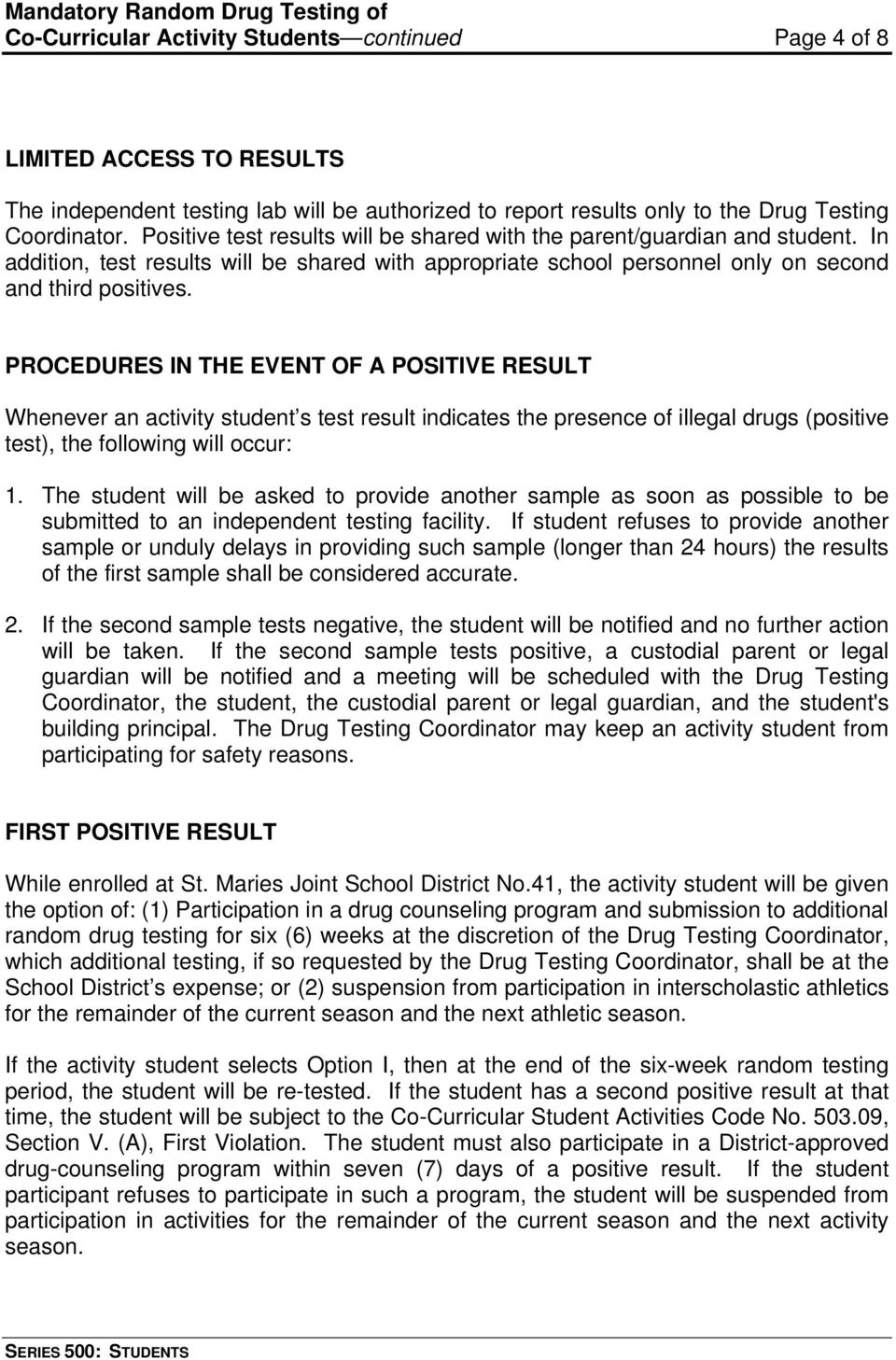 Frequently Asked Questions About Drug Testing in Schools