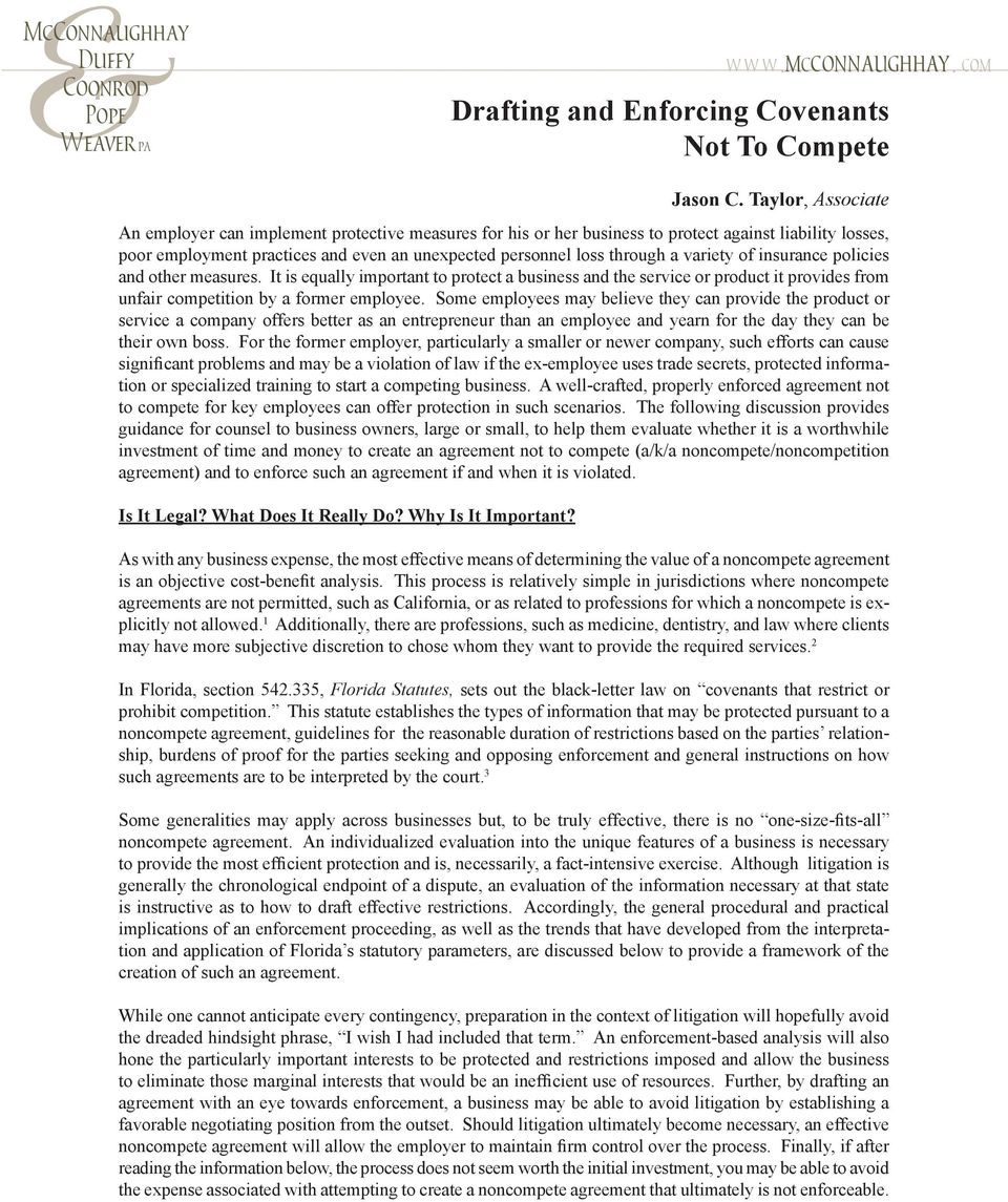 Drafting And Enforcing Covenants Not To Compete Pdf