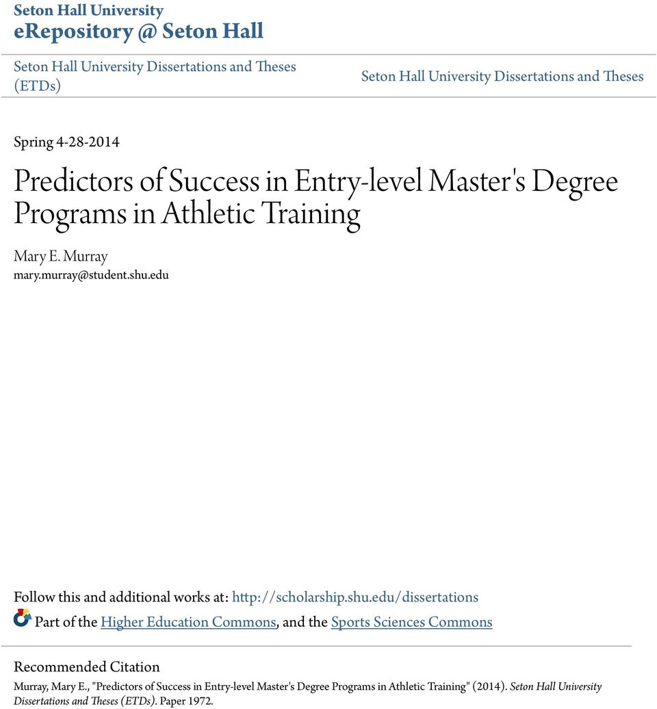seton hall dissertation Dissertations and theses services about - dissertations, theses, & final projects basic style guidelines for seton hall dissertations and theses.