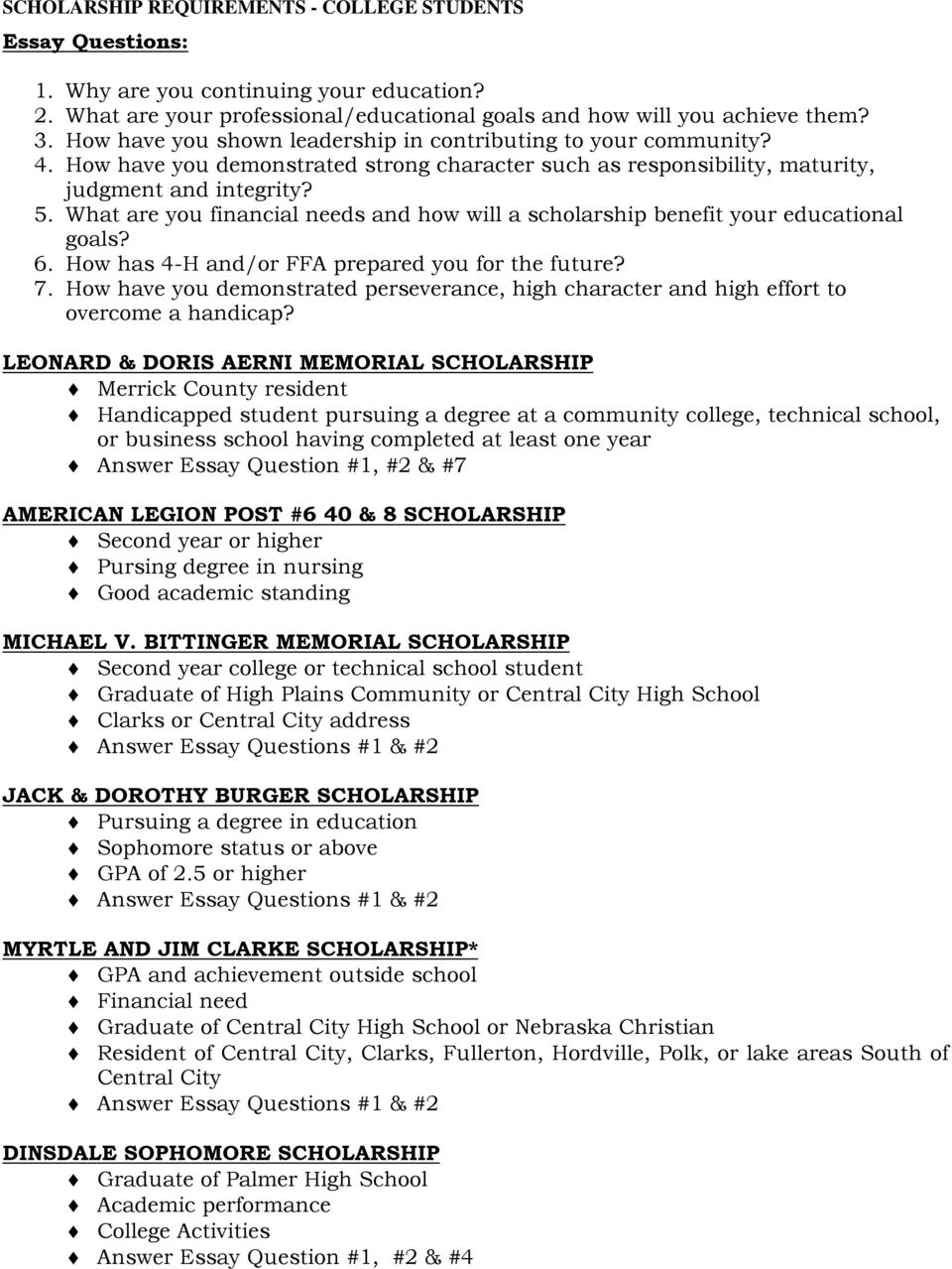 essay questions american legion post scholarship second what are you financial needs and how will a scholarship benefit your educational goals 6