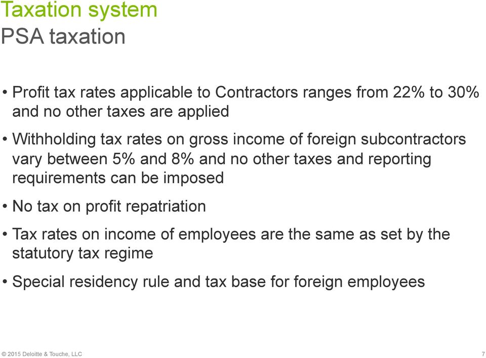 reporting requirements can be imposed No tax on profit repatriation Tax rates on income of employees are the same as