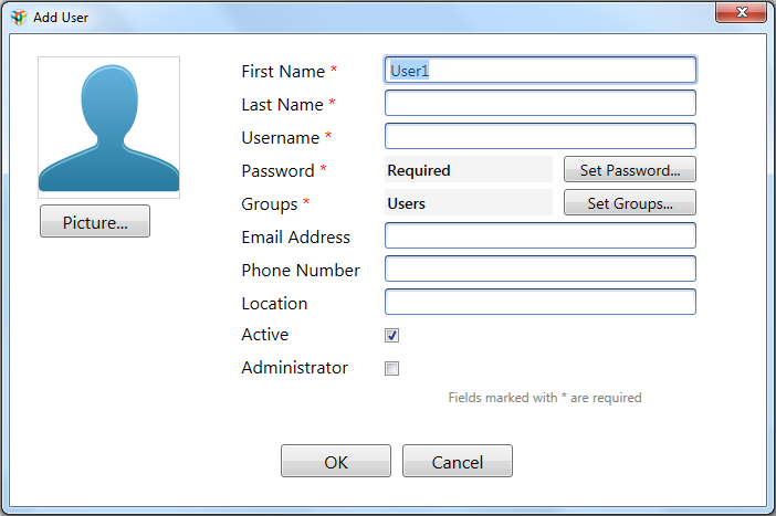 Managing ChromLab Users 3. Enter identifying information about the user in the text boxes.