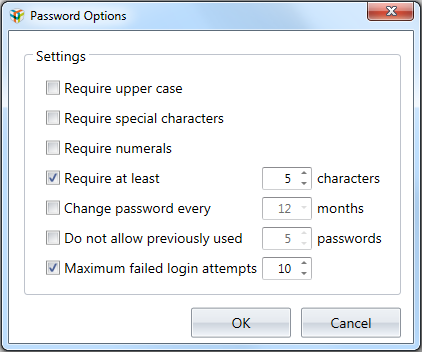 Managing ChromLab Users 3. Select the checkbox to enable the password option. Require upper case the password requires at least one upper case letter.