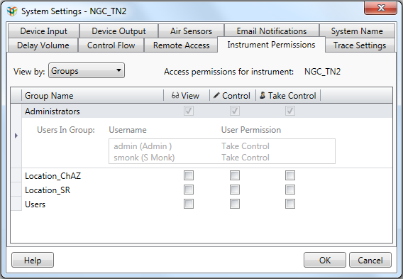 Chapter 9 Connecting Multiple ChromLab Computers to One NGC System 6. Choose the Instrument Permissions tab. 7.