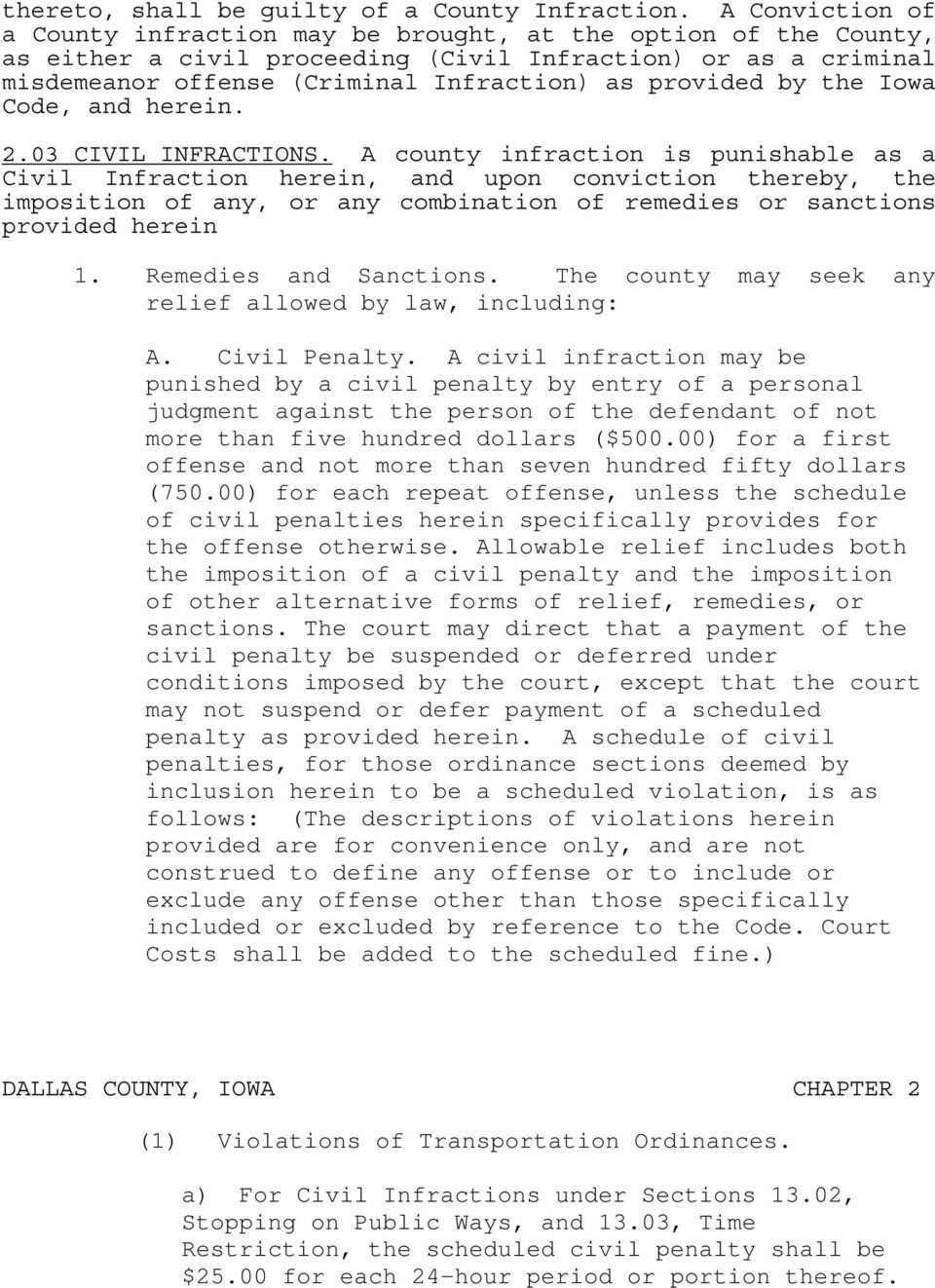 by the Iowa Code, and herein. 2.03 CIVIL INFRACTIONS.