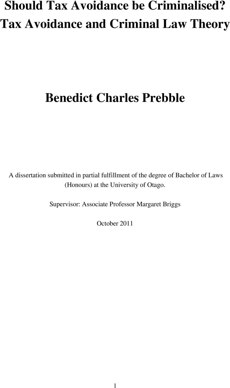 dissertation submitted in partial fulfillment of the degree of