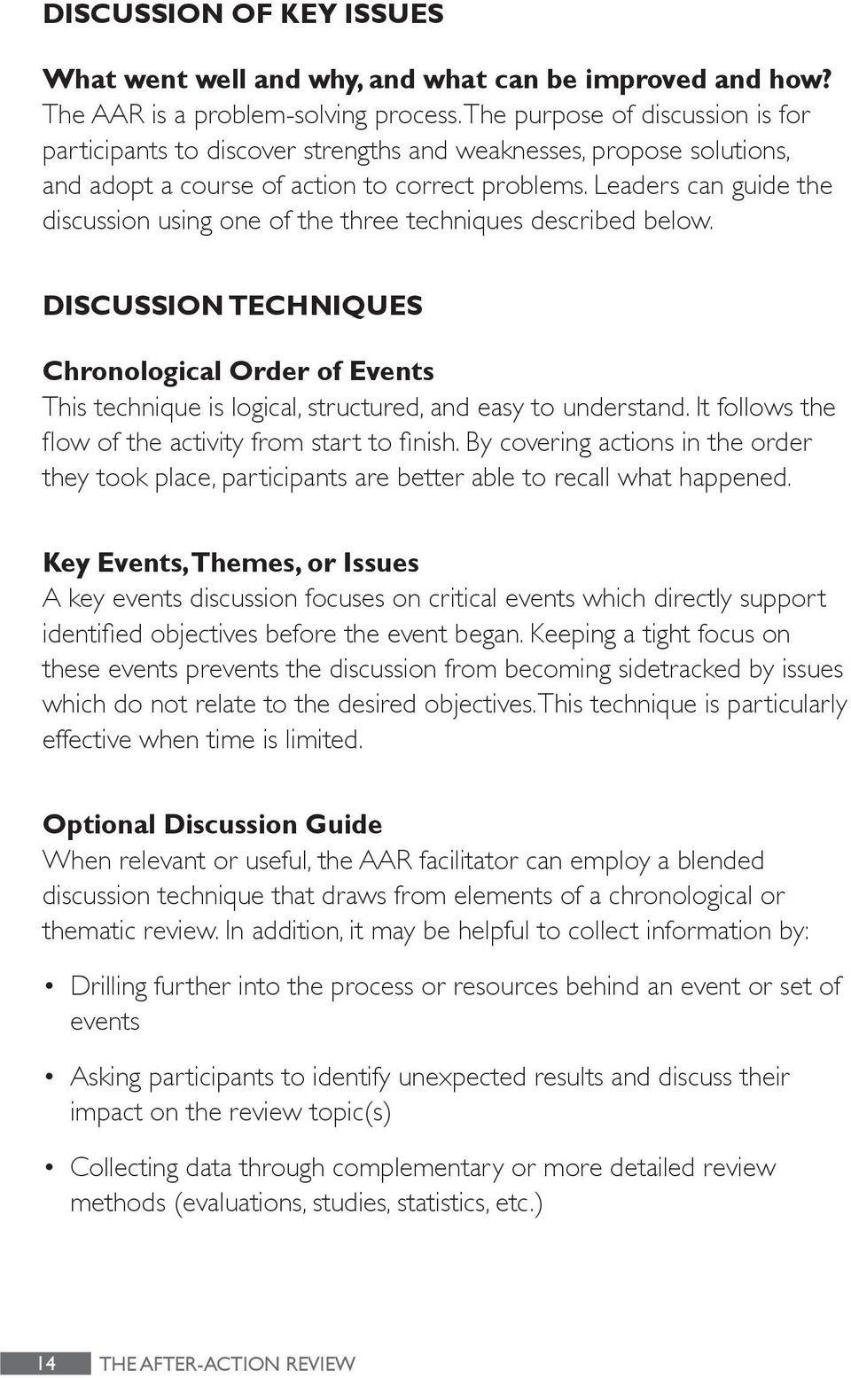 Leaders can guide the discussion using one of the three techniques described below. DISCUSSION TECHNIQUES Chronological Order of Events This technique is logical, structured, and easy to understand.