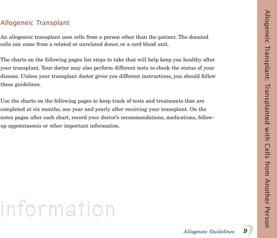 Unless your transplant doctor gives you different instructions, you should follow these guidelines.