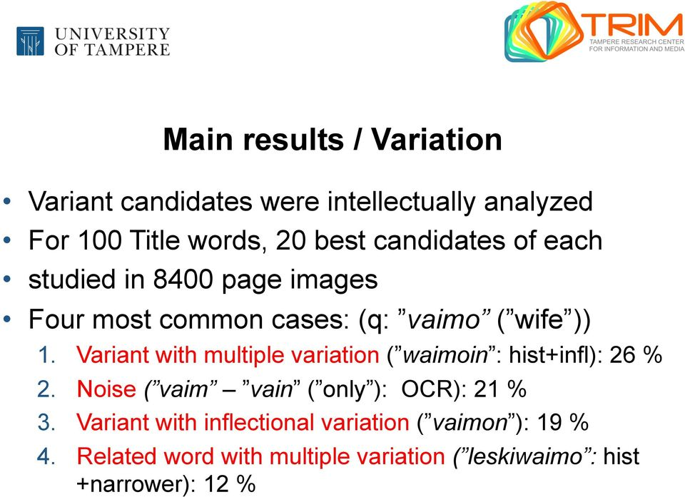 Variant with multiple variation ( waimoin : hist+infl): 26 % 2. Noise ( vaim vain ( only ): OCR): 21 % 3.