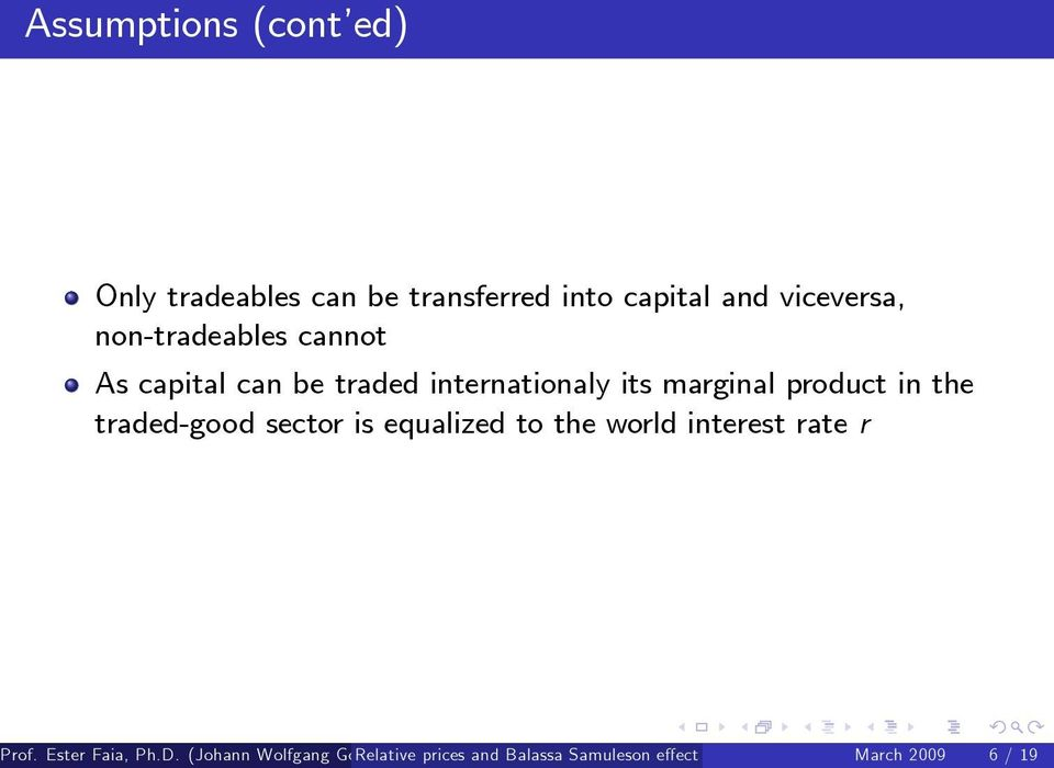 traded internationaly its marginal product in the traded-good