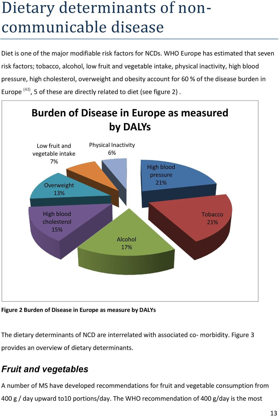 of the disease burden in Europe (43), 5 of these are directly related to diet (see figure 2).