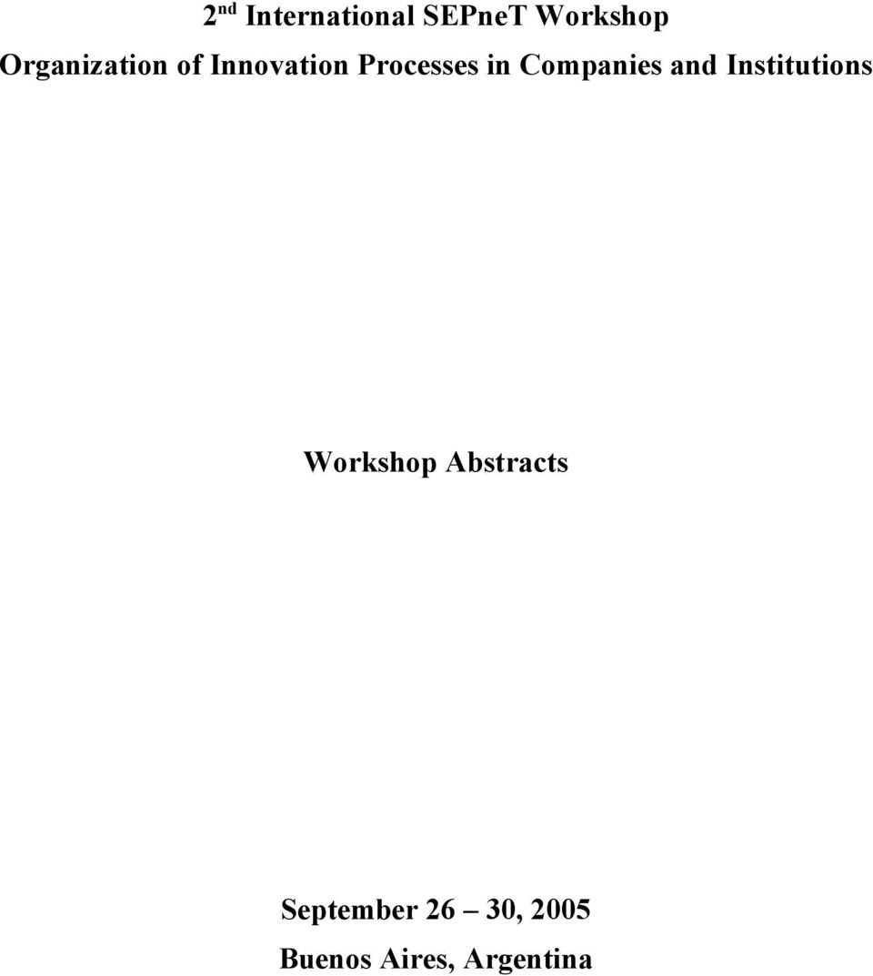 Companies and Institutions Workshop s