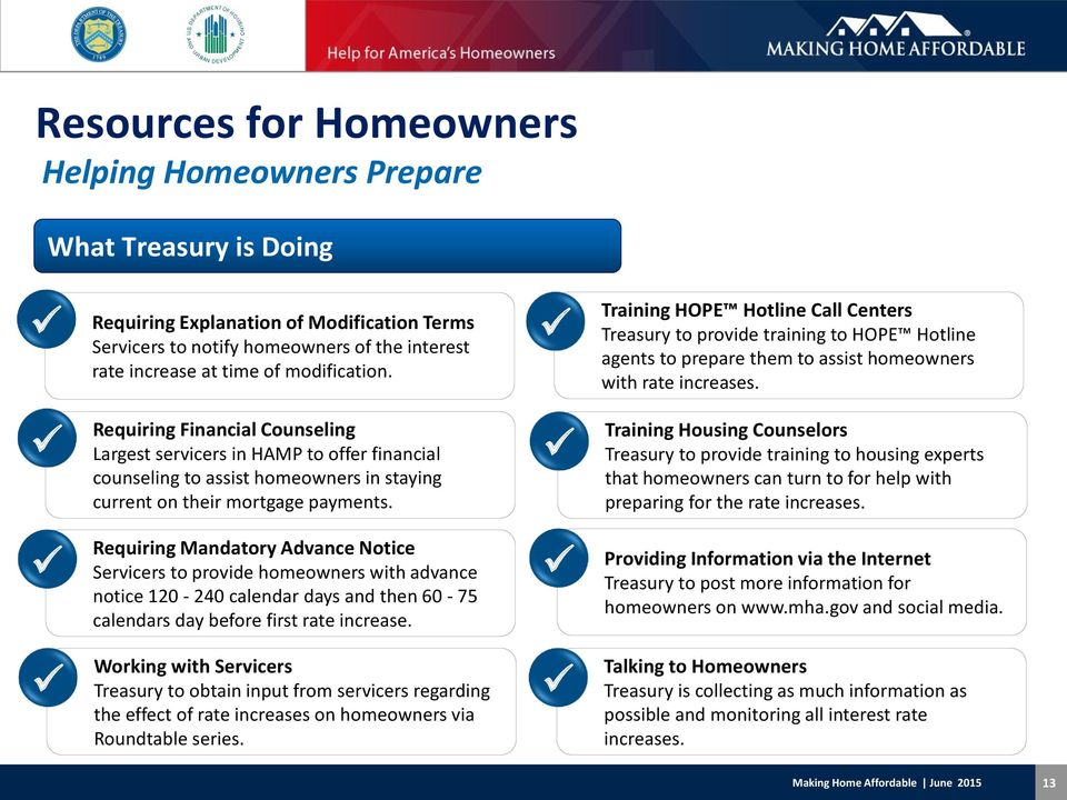 Requiring Financial Counseling Largest servicers in HAMP to offer financial counseling to assist homeowners in staying current on their mortgage payments.